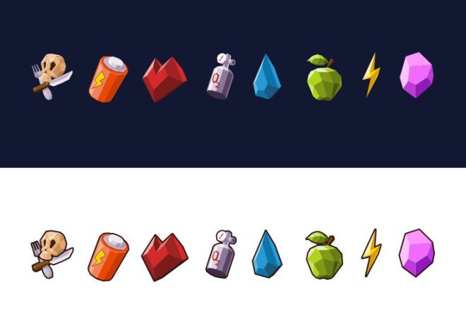 8 Low Poly Game Icons Vector