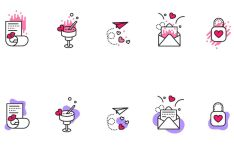 10 Creative Valentines Icons Vector