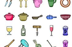20 Kitchen SVG Icons (2 Styles)
