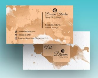 Creative Business Card With Splash Background Mockup