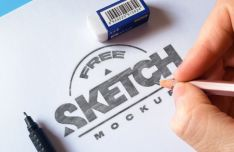 Realistic Sketch PSD Mockups