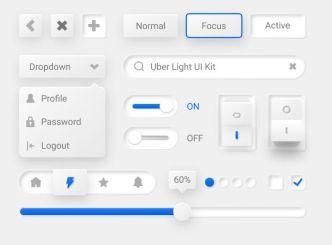 Skeumorphism Style Uber Light UI Kit