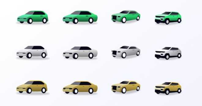 Car Illustration Icons Adobe XD