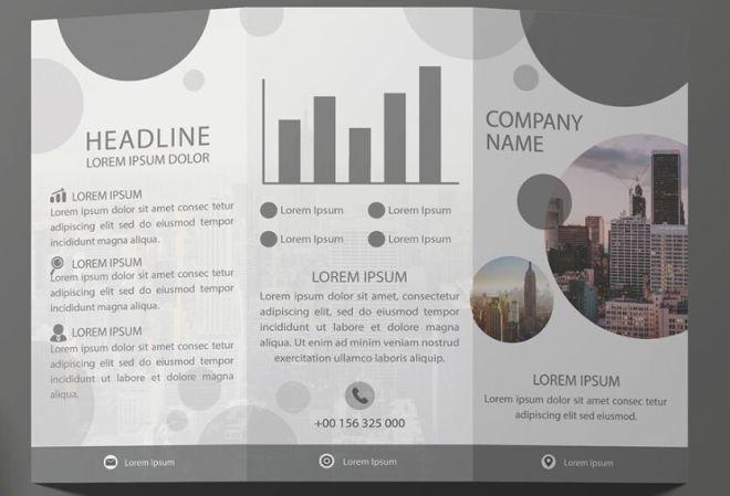 Business Tri-folder Brochure Template Vector