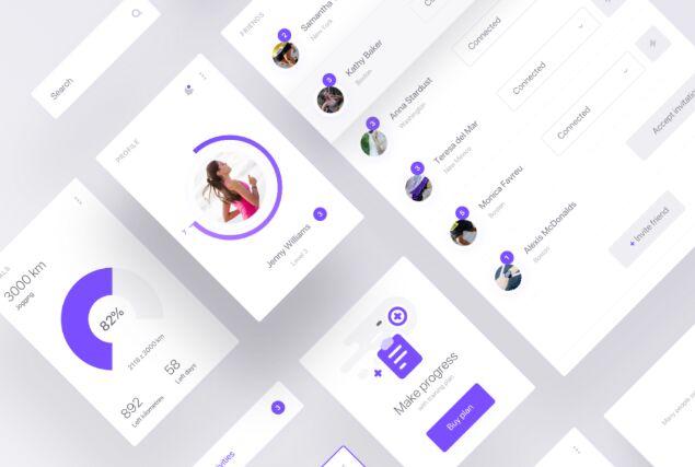 Minimal Clean Fitness App Design Sketch