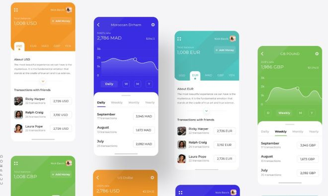 Colorful App UI Design For Sketch