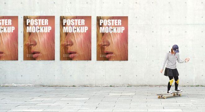 Urban Wall Poster Mockup PSD
