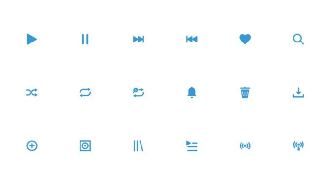 6 Minimal Vector Icons For Music App