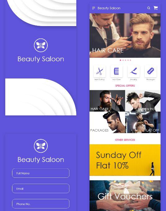 Beauty Saloon Mobile App Design (AI & XD)