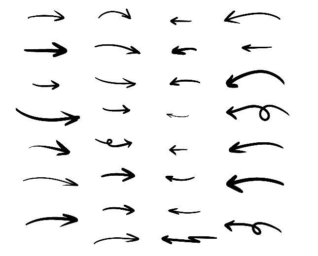 30 Hand Drawn Arrows Vector