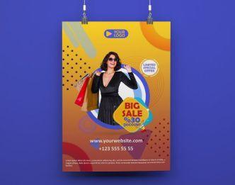 Modern Big Sale Poster PSD Mockup