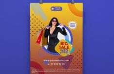 Modern Big Sale Promotion Poster PSD Mockup