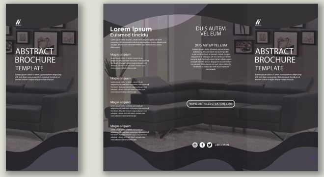 Business Trifold Brochure Vector Template