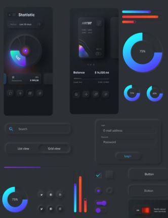 Unique Dark Neumorphism UI Kit For Figma