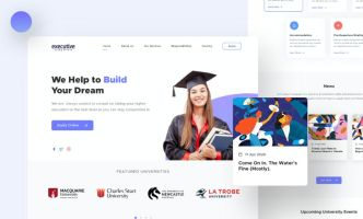 Study Aboard Landing Page Sketch Template
