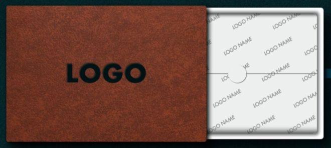 Realistic Open Box Logo PSD Mockup