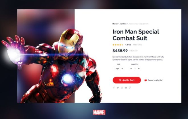 Marvel Iron Man Product Page Template Figma