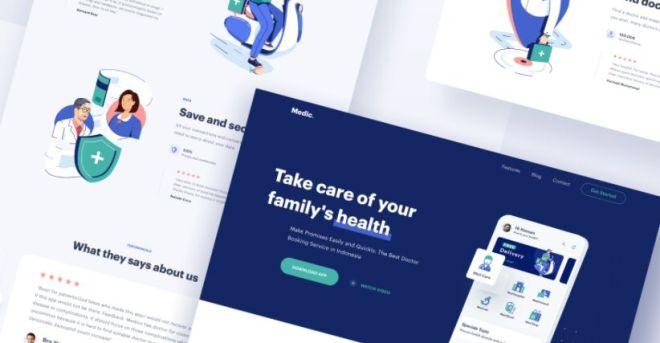 Medical Website & Web App Sketch Template