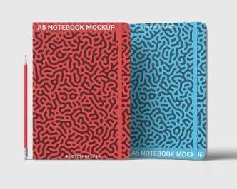 High Resolution A5 Notebook PSD Mockup