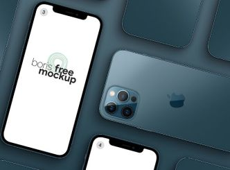 Perspective Pacific Blue iPhone 12 Pro Max Mockup PSD