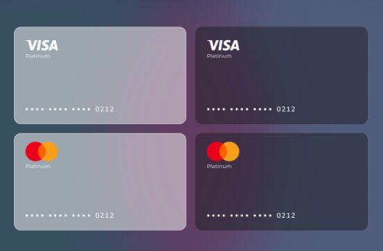 Glassmorphism Style Visa Master Card Design Figma