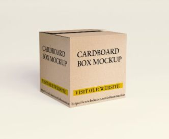 Realistic Square Cardboard Box PSD Mockup