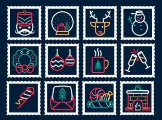 12 Christmas & New Year Stamp Icons Vector