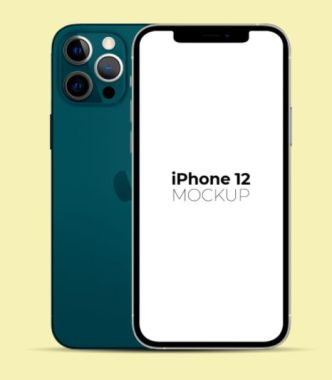 Minimal iPhone 12 Pro (Front & Back View) PSD Mockup
