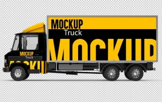 Truck Side View Mockup PSD