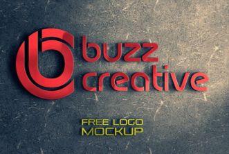 3D Wall Logo PSD Mockup