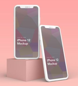 5 iPhone 12 Clay Mockups PSD