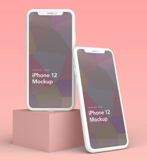 5 iPhone 12 Clay Mockups PSD