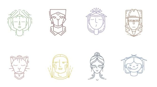 8 Face Icons Vector