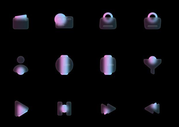 100 Matt Glass Style Icons Figma