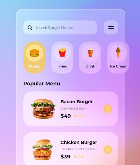 Glassmorphism Style Burger App Design Adobe XD