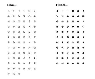 120+ UI Icons In 2 Styles (Line & Filled)