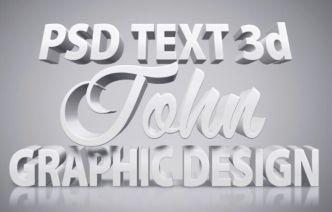 White 3D Text Effect PSD