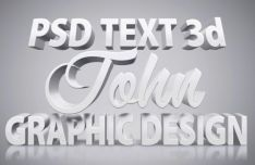 White 3D Text Effect PSD