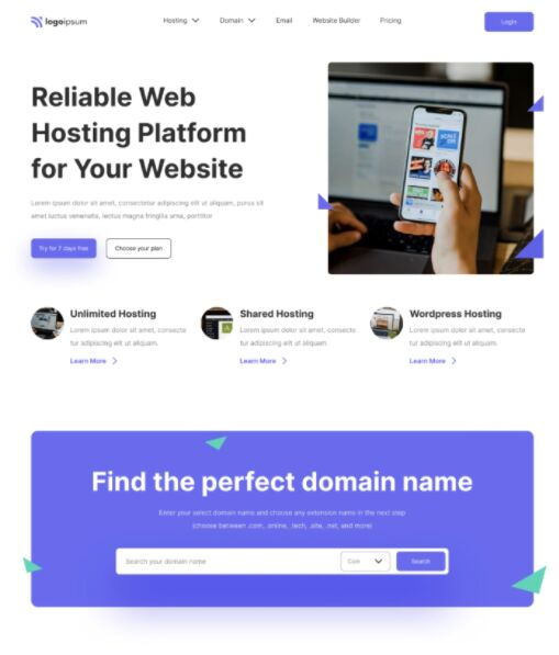 Modern Hosting Service Web Templage Figma