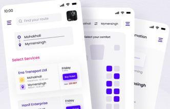 Online Bus Booking App Design (PSD & Figma)