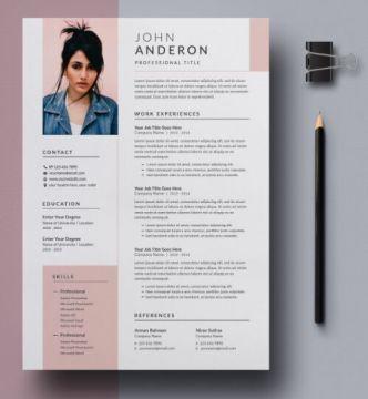 Modern Resume & Cover Letter PSD Mockups