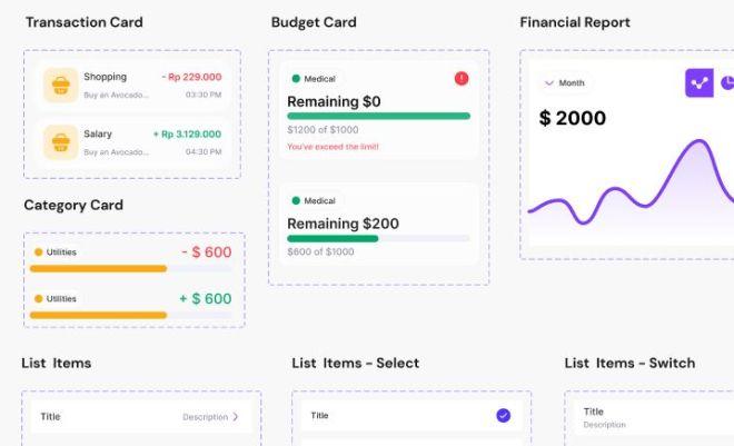 Expense Tracker UI Kit Figma