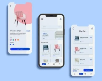 E-commerce App With iPhone Mockup PSD