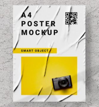 Crumpled A4 Paper PSD Mockup