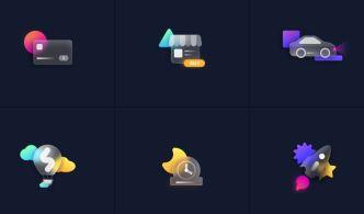 6 Glassmorphism Style Icons Figma