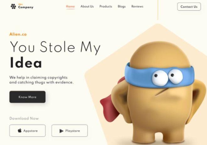 Alien Company App Landing Page Design Figma