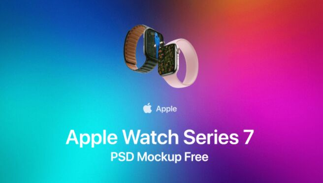 Apple Watch Series 7 Mockup In Fully Layered PSD
