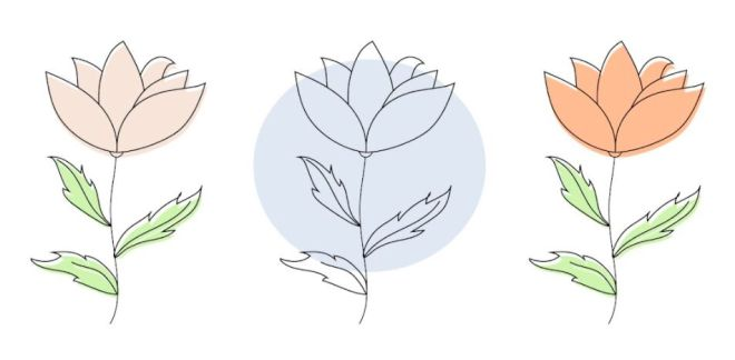 3 Hand Drawn Flowers Vector