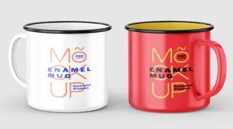 Enamel Mug PSD Mockup