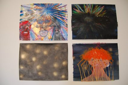 "Sarah Gamble, Life's Troubles, Untitled, Far Away, and Untitledmixed media on paper, 19"" x 24"" each photo courtesy of Alana Bogrand"